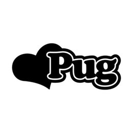 PUG LOVE HEART - CUSTOM VINYL DECAL - Car Bumper Sticker Window Vehicle Dog Gift