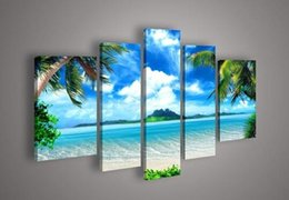 Framed 5 Panel Wall Art Oil Painting On Canvas blue sky and white clouds sea Paintings Pictures Decor painting large living room