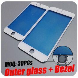 Descuento iphone vidrio de alta calidad Alta calidad para el iPhone 6 6S más marco del bisel del LCD con la lente de cristal externa pre-instalada para la restauración del LCD del iPhone