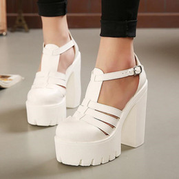Wholesale Sandals Woman Shoes China - Hot Selling 2017 New Summer Fashion High Platform Sandals Women Casual Ladies Shoes China Black and White Size