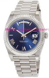 Descuento esfera blanca para hombre de los relojes automáticos Relojes de lujo DayDate 40 azul Dial 18K oro blanco Presidente automático de los hombres Reloj para hombre Relojes de pulsera