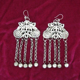 Guizhou Yunnan minority folk style personality exaggeration hand Miao silver butterfly earrings earrings female silver plate