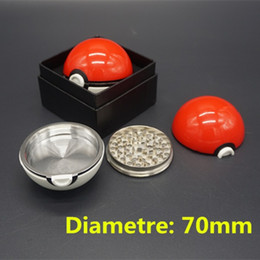 Wholesale Upgraded Pokeball Grinder Layer Parts mm Bigger Large Size Metal Zinc Alloy ABS Plastic Herbal Smoking Grinders Gift Box Packing