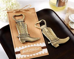 "Fast Delivery! Wedding Favor ""Just Hitched"" Cowboy Boot Bottle Opener Wholesale"