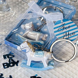 (50pcs Lot FREE SHIPPING by UPS,DHL,Fedex)Baby Shower Favors Blue Horse Keychain in Gift Box Baby Boy Party Souvenir Key Chain Favor
