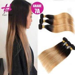 3Pcs / Lot Brown pelo de Ombre de las tramas del pelo recto brasileño de las extensiones Ombre del pelo 100% desde marrón brasileño recto pelo tejido fabricantes