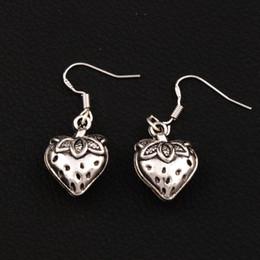 3D Strawberry Earrings 925 Silver Fish Ear Hook 20pairs lot Antique Silver Chandelier E937 14.4x37mm