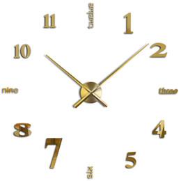 Promotion ikea sticker mural Grossiste-Promotion Bricolage Grande Horloge Murale 3D Acrylique Miroir Stickers Muraux Duvar Saat Montre Horloge Ikea Accueil Décoration Mouvement Horloge Quartz