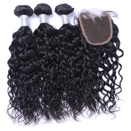 Hot Selling Water Wave Unprocessed Human Hair 3 Bundles Hair Weave With 1pc 4*4 Lace Closure Natural Color 8-26 inch
