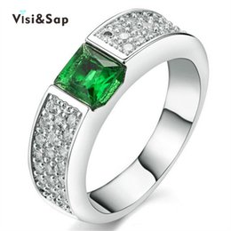 Visisap White gold color ring green stone Wedding Rings For Women cubic zircon jewelry luxury wholesale anel top quality VSR210