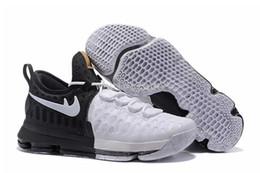2017 kds blanc Livraison gratuite Hommes KD 9 BHM Noir Historique Mois Blanc / Noir Baskets Baskets kd9 kds 9s Taille 7-12 Avec Boîte Chaussures kds blanc sur la vente