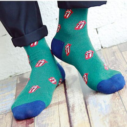 Wholesale fashion classical candy colorful mouth lips tougue Styles Mens womens combed cotton socks wedding gift socks for unisex female male dress