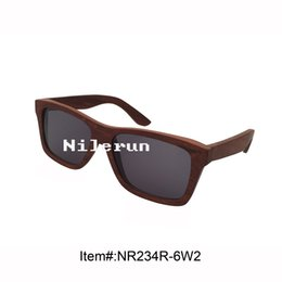 fashionable square real red wood frame grey polarized TAC lens sunglasses