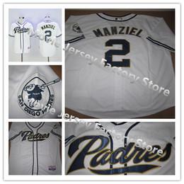 2017 johnny maillots manziel 100% cousu San Diego Padres # 2 Johnny Manziel Maillot de baseball blanc Cool Base, taille M, L, XL, XXL, XXXL budget johnny maillots manziel