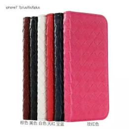 For the iphone7 7plus 6 6plus pure hand woven stripe card wallet case shot Flip Case