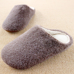Canada Vente en gros - Couples d'hiver Chaude Chaude Chaussures solaires pour femmes et hommes Chaussures intérieures Pantofole Fleece House Couleurs solides Unisex Hot Sale wholesale slipper soles promotion Offre