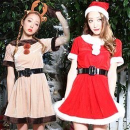 Wholesale New Year Red Christmas Khaki Deer Animal Dress Waist Christmas Dress Cute Plush Stage Party Performance Service