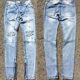 Wholesale Best Version FOG Style Men Selvedge Zipper Destroyed Skinny Slim Fit Vintage Ripped Blue Denim Jeans US Size