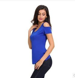 Round collar sexy off-the-shoulder spliced back lace hollow out women's T-shirt with short sleeves
