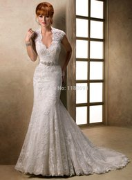 Wholesale Classic retro lace mermaid V neck cap set of nail beaded lace wedding dress luxurious big tail new listing sexy wedding