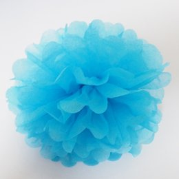 DHL UPS FedEx free shipping 100 pcs per lot #7 Sky blue 3'' wedding paper tissue pompoms party decorations factory price wholsale