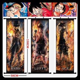 Anime ONE PIECE Monkey D. Luffy Portgas.D.Ace Sabo combustion Edition Beautiful hanging picture fabric painting mural