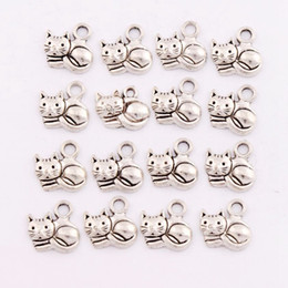 Wholesale Fashion Jewelry x14 mm Antique Silver Lying Cat Spacer Charm Beads Pendants Alloy Handmade Jewelry DIY L1153