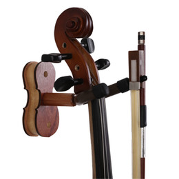 Wood Violin Hanger with Bow Hanger - Hardwood Home & Studio Wall Mount Hanger for Violin - Rose Wood