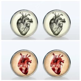Wholesale Steampunk Vintage Anatomic Heart Art Picture Cufflinks Round Silver Shirt Brand Glass Cuff Links Men Wedding Gift Sleeve Button