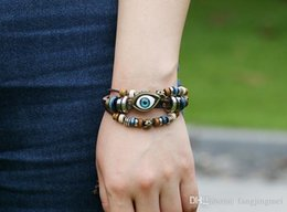 Hot hot style restoring ancient ways beaded eyes leather bracelet braided leather bracelet with restoring ancient ways
