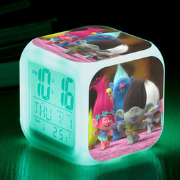 Wholesale 33Designs Trolls Led Glowing Clock Movie Trolls Multi Function LED Colors Change Digital Alarm Baby Kids Night Lamp Table Clock