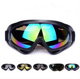 Wholesale Black Frame Snow Goggles Windproof UV400 Motorcycle Snowmobile Ski Goggles Eyewear Sports Protective Safety Glasses with strap JF