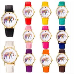 2015 women elephant design flower printing Metal ladies leather PU wrist watch fashion dress quartz watches