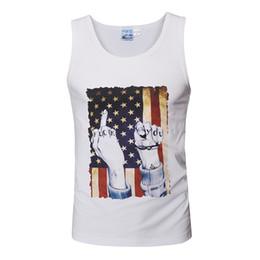Descuento parodia divertida Spoof América Bandera 3D Impresión Hombre Tank Top 2017 Verano Funny Streetwear Impreso Tank Tops Hombres Mujeres Algodón