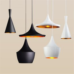 Wholesale Indoor Light Tom Dixon Copper Design Shade Pendant Lamp E27 Bulbs Beat Light Ceiling Lamp Black White Home Decoration ABC Size Set