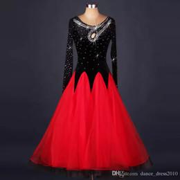 New Ballroom Dance Dress Modern Waltz Tango Standard Red Rhinestone Dance Dress Size S-XXL Custom A120