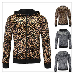 Wholesale Cardigans For Men Sale - Hoodies for Men 2017 European and American Style Spring&autumn New Arrival Hot Sale Zipper Leopard Cardigan Hoodies Casual Sports Coat US Si