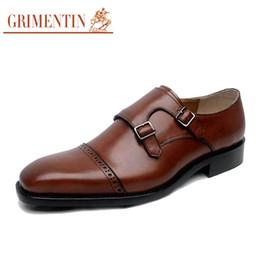 2017 chaussures robe de moine GRIMENTIN marque de luxe vintage hommes chaussures de robe pure manuel personnalisé en cuir authentique monk sangle mens chaussures plates pour mariage chaussures robe de moine sur la vente