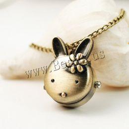 Wholesale Drop Shipping Retro Bronze Quartz Pocket Watch Rabbit Pendant Necklace Watches Women Men Gift Steampunk Jewelry
