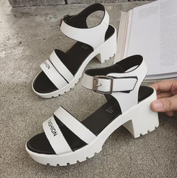 beautiful new Korean student summer all-match lady peep toe heels cool youth coarse fish mouth shoes