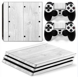 White Wooden Full Set Vinyl Skin Sticker Decor Decals for Sony PS4 Pro Console Skin + 2 PCS Controller Cover Skin Stickers