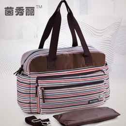 Wholesale New Style Retro Striped Nappy Changing Bags Fashion Multifunctional Baby Diaper Bag Antimicrobial Mommy Bags For Stroller
