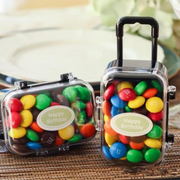 2017 tableau acrylique clair Acrylique Clear Mini Rolling Travel Suitcase Candy Box Baby Shower Wedding Favors Party Table Décoration Fournitures Cadeaux abordable tableau acrylique clair