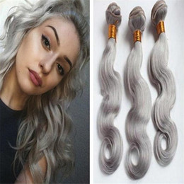 Cheap Unprocessed 8A Grey Hair Extensions Body Wave 3Pc lot Peruvian White Grey Color Human Hair Weave Free Shipping