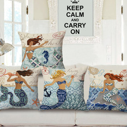 Wholesale Mermaid cotton printed pillowcase Fashionable household sofa cushion for leaning on Marine pillows cushion restoring ancient ways g thick