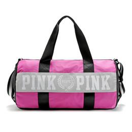 Women Handbags Pink Letter Large Capacity Travel Duffle Striped Waterproof Beach Bag Shoulder Bag 30pcs OOA781