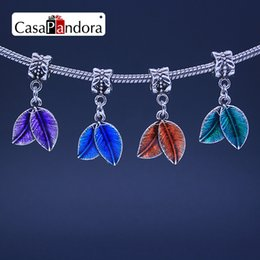 CasaPandora 4 Colors Silver-colored Shape Of Leaves Pendant Fit Bracelet Charm DIY Enamel Bead Jewelry Making Pingente Berloque Wholesale