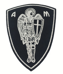 """2017 New Cool Christian Angel Warrior Shield Embroidered Patch Christian Religious Emblem 4"""" high Green G065 Free Shipping"""