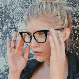 Promotion fille chat cru Vente en gros - ROYAL GIRL Lunettes de vue Cat Eye Lunettes de marque Designer Lunettes de miroir Vintage Classic Clear Lens ss099