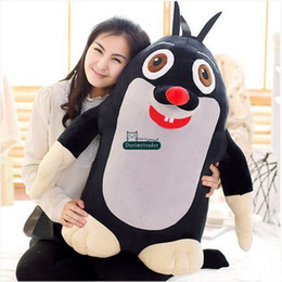 2017 coussins en peluche farcis Dorimytrader Hot Cartoon Panda et Little Mole Peluche 85cm Gigante Soft Stuffed Animal Panda Mole Doll Pillow Baby Gift 33 '' DY61537 abordable coussins en peluche farcis